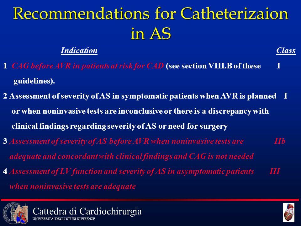 Cattedra di Cardiochirurgia UNIVERSITA' DEGLI STUDI DI FIRENZE Recommendations for Catheterizaion in AS Indication Class 1 CAG before AVR in patients
