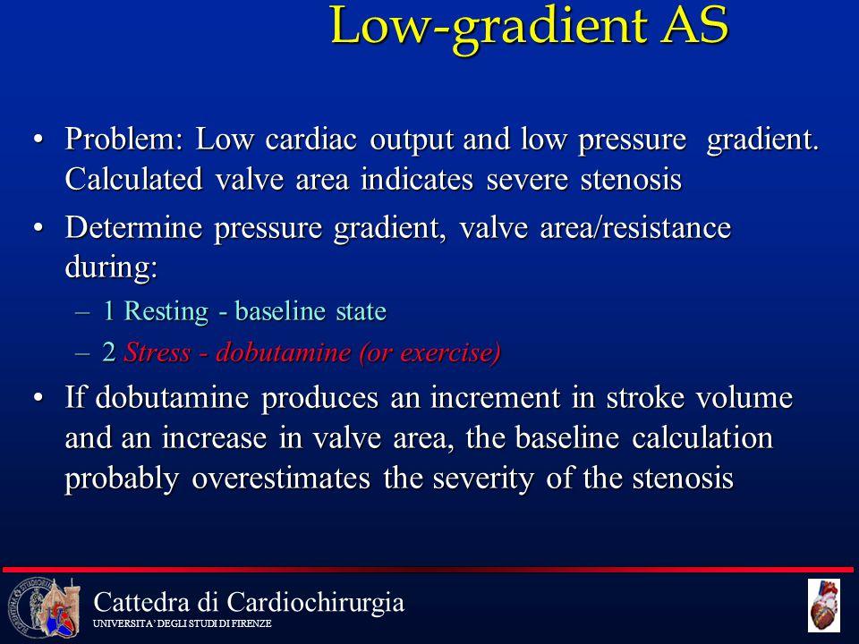Cattedra di Cardiochirurgia UNIVERSITA' DEGLI STUDI DI FIRENZE Low-gradient AS Problem: Low cardiac output and low pressure gradient. Calculated valve