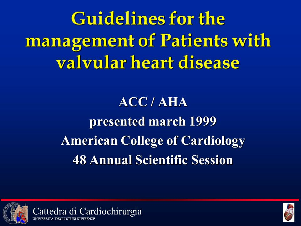 Cattedra di Cardiochirurgia UNIVERSITA' DEGLI STUDI DI FIRENZE Recommendations for AVR in AS 2 Indication Class 5 Asymptomatic patients with severe AS and.