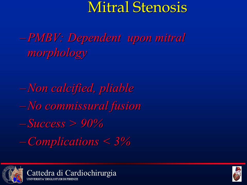 Cattedra di Cardiochirurgia UNIVERSITA' DEGLI STUDI DI FIRENZE –PMBV: Dependent upon mitral morphology –Non calcified, pliable –No commissural fusion