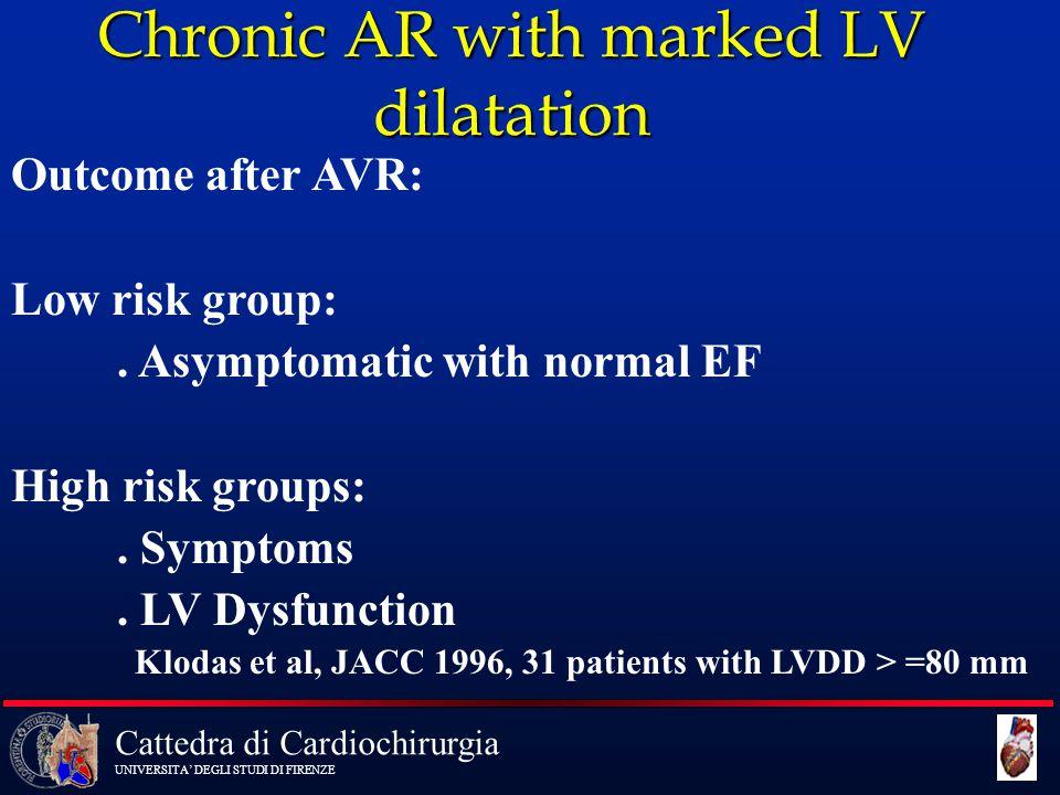 Cattedra di Cardiochirurgia UNIVERSITA' DEGLI STUDI DI FIRENZE Chronic AR with marked LV dilatation Outcome after AVR: Low risk group:. Asymptomatic w
