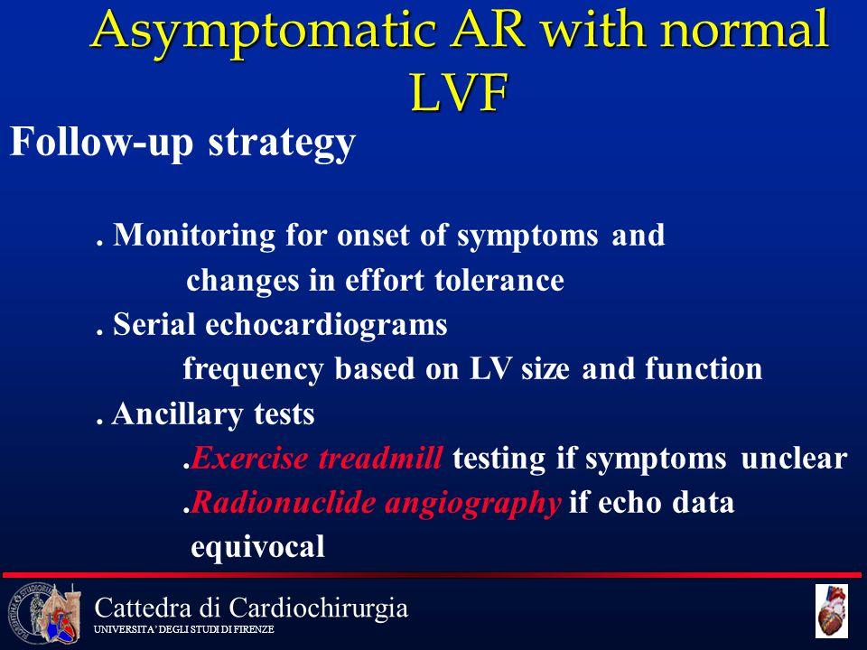 Cattedra di Cardiochirurgia UNIVERSITA' DEGLI STUDI DI FIRENZE Asymptomatic AR with normal LVF Follow-up strategy. Monitoring for onset of symptoms an