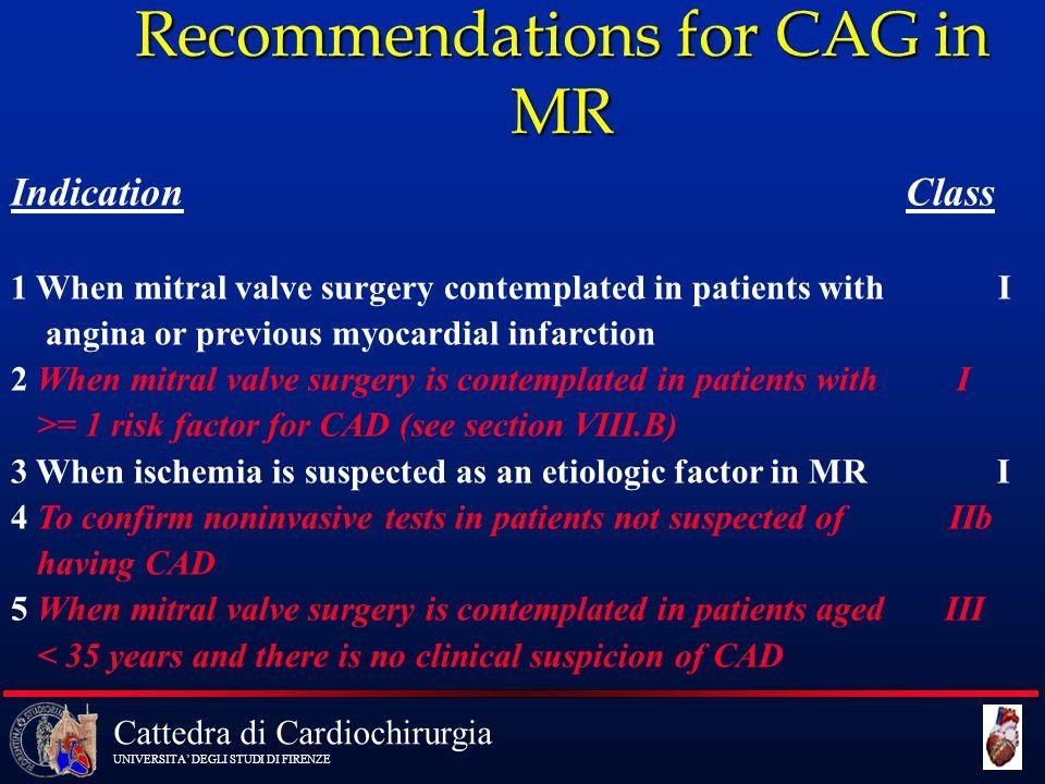 Cattedra di Cardiochirurgia UNIVERSITA' DEGLI STUDI DI FIRENZE Recommendations for CAG in MR Indication Class 1 When mitral valve surgery contemplated