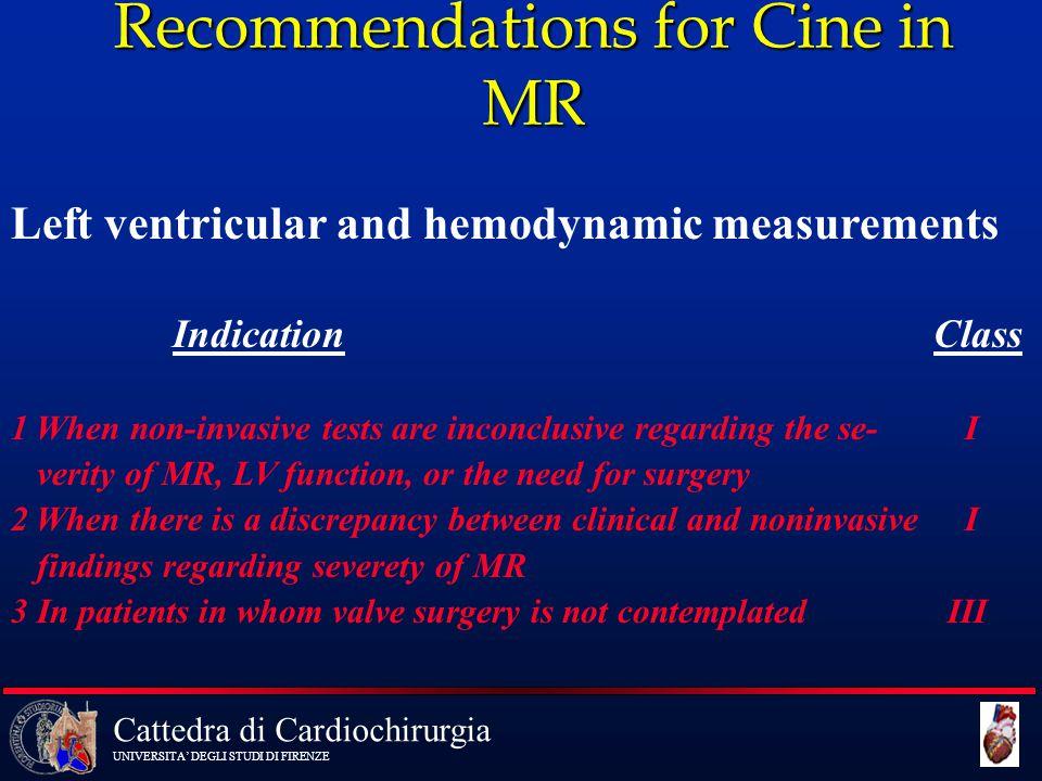 Cattedra di Cardiochirurgia UNIVERSITA' DEGLI STUDI DI FIRENZE Recommendations for Cine in MR Left ventricular and hemodynamic measurements Indication