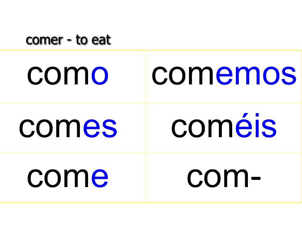 comer - to eat comocomemos comescoméis comecom-