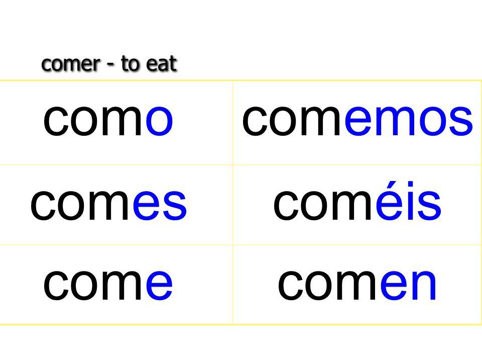 comer - to eat comocomemos comescoméis comecomen