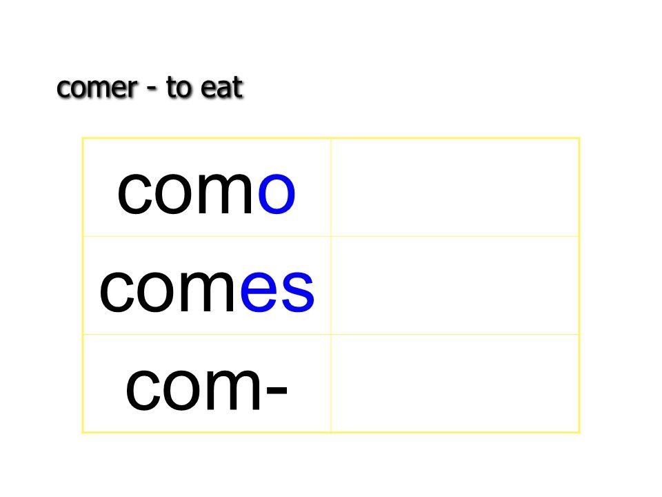 comer - to eat como comes com-