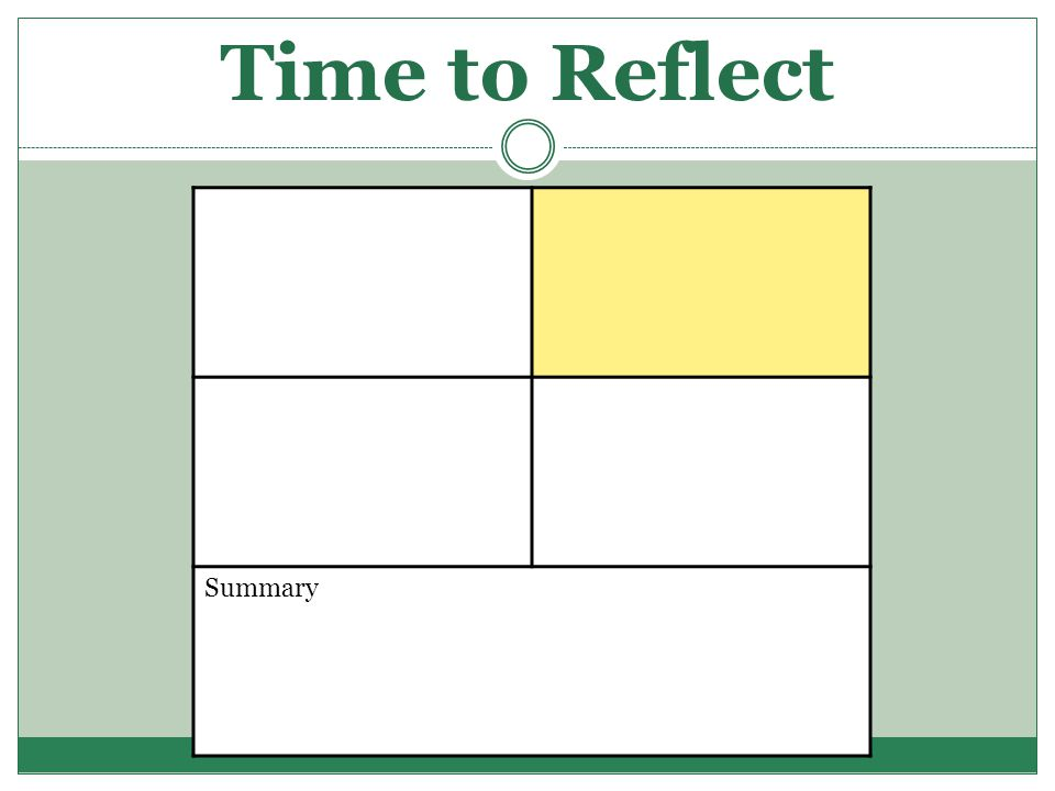 Time to Reflect Summary