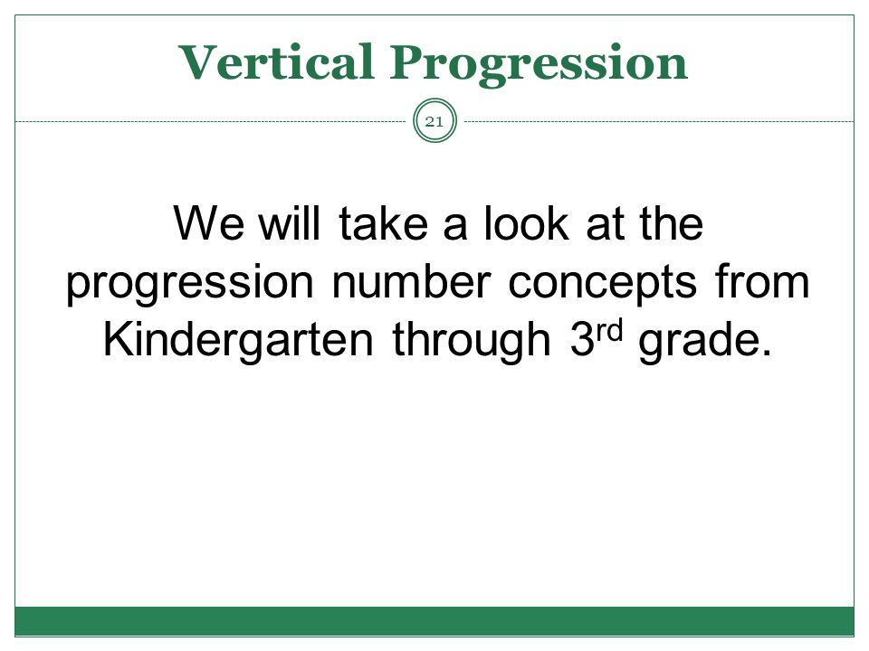 Vertical Progression We will take a look at the progression number concepts from Kindergarten through 3 rd grade.
