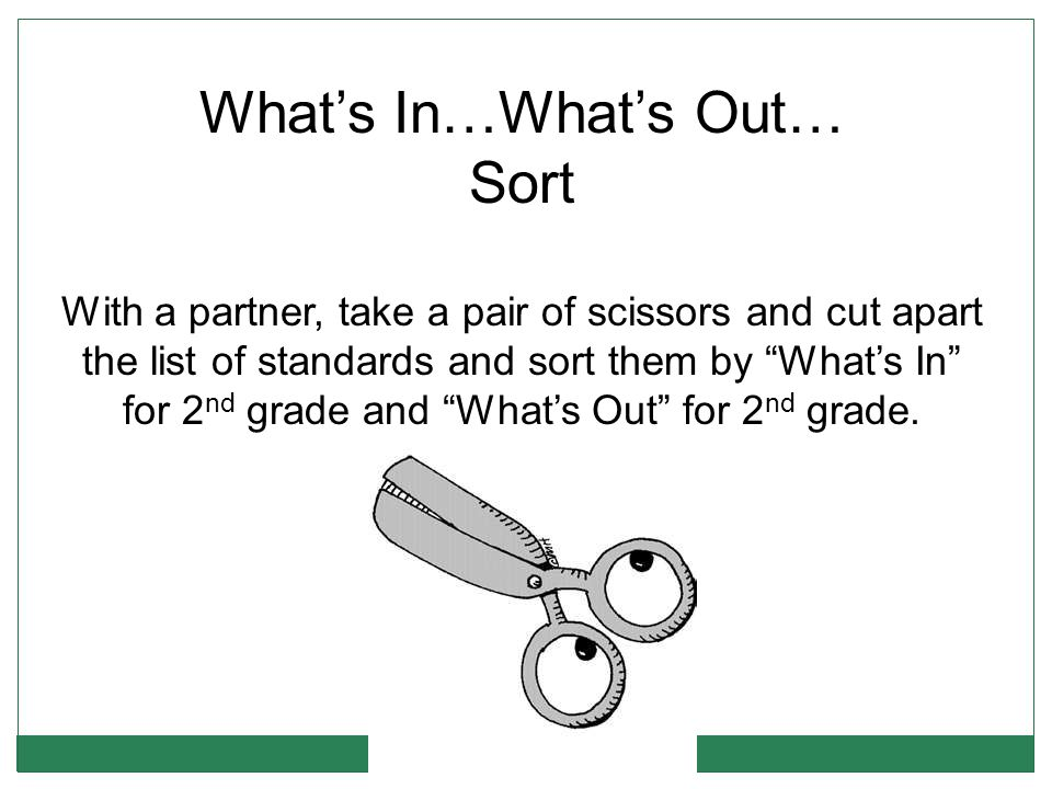 What's In…What's Out… Sort With a partner, take a pair of scissors and cut apart the list of standards and sort them by What's In for 2 nd grade and What's Out for 2 nd grade.