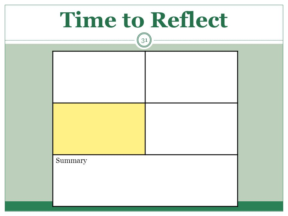 Time to Reflect Summary 31