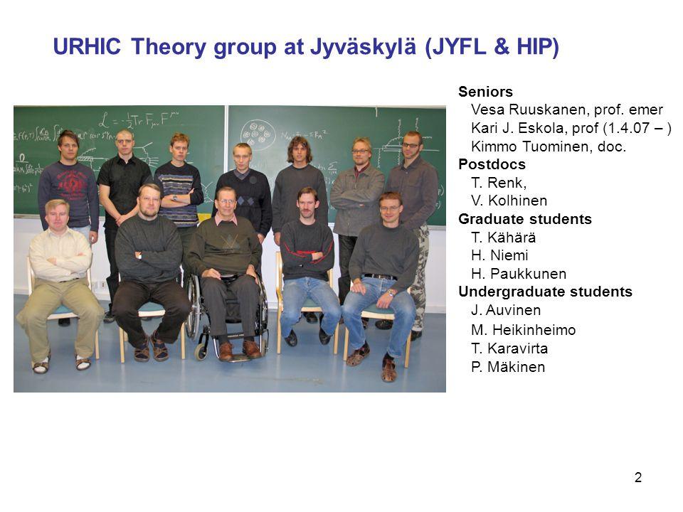 2 URHIC Theory group at Jyväskylä (JYFL & HIP) Seniors Vesa Ruuskanen, prof. emer Kari J. Eskola, prof (1.4.07 – ) Kimmo Tuominen, doc. Postdocs T. Re
