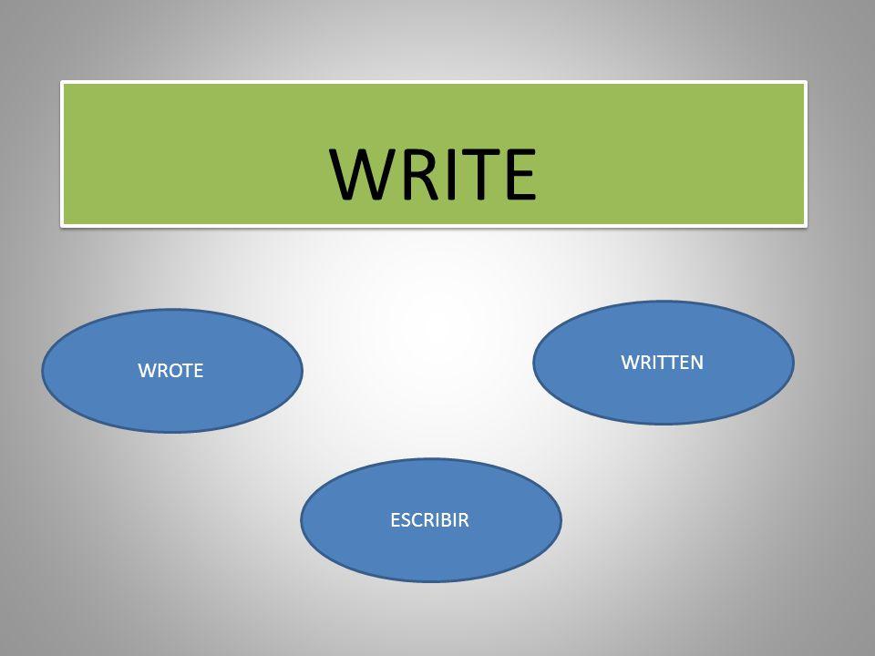 WRITE WRITTEN WROTE ESCRIBIR