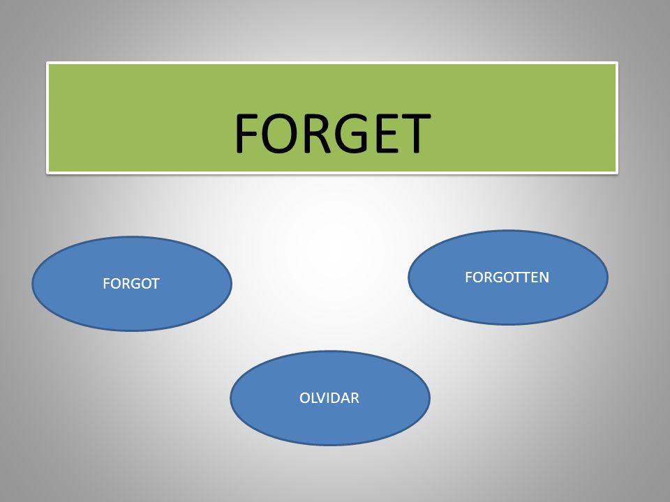 FORGET FORGOTTEN FORGOT OLVIDAR