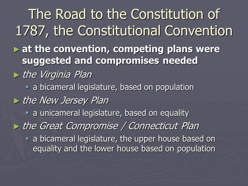 The Road to the Constitution of 1787, the Constitutional Convention ► at the convention, competing plans were suggested and compromises needed ► the V