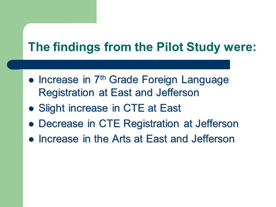 The findings from the Pilot Study were: Increase in 7 th Grade Foreign Language Registration at East and Jefferson Increase in 7 th Grade Foreign Lang