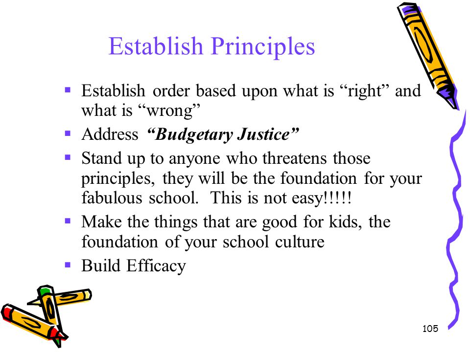 "105 Establish Principles  Establish order based upon what is ""right"" and what is ""wrong""  Address ""Budgetary Justice""  Stand up to anyone who threa"