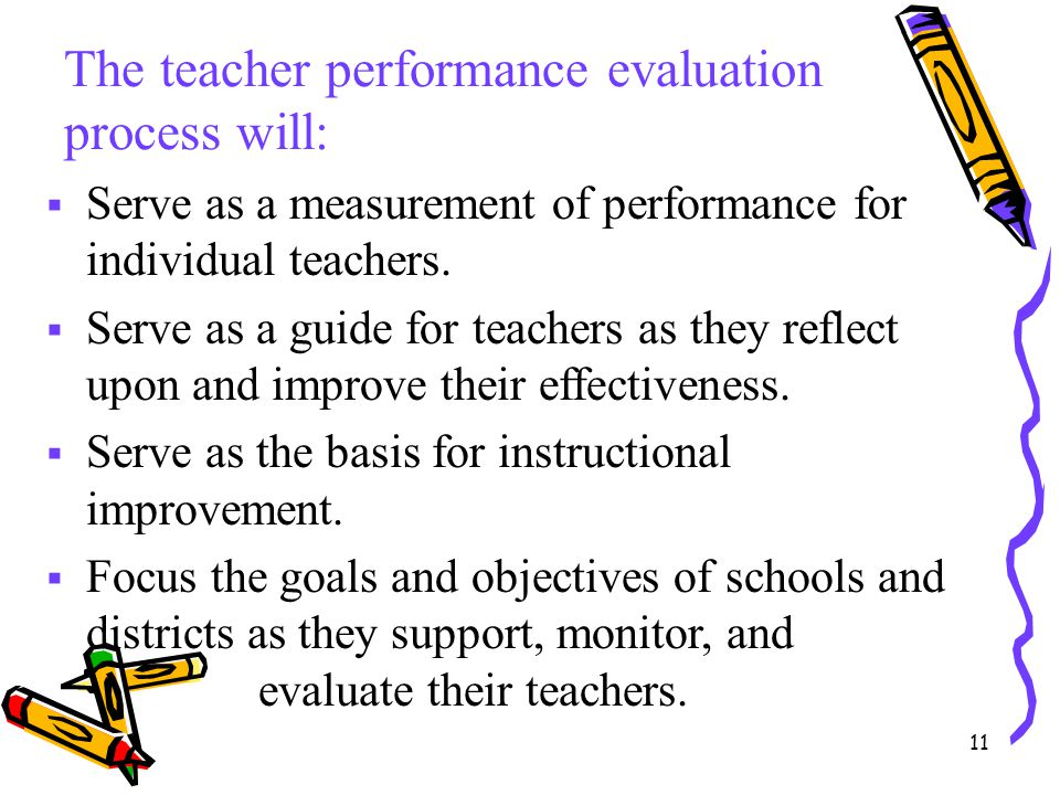 11 The teacher performance evaluation process will:  Serve as a measurement of performance for individual teachers.  Serve as a guide for teachers a