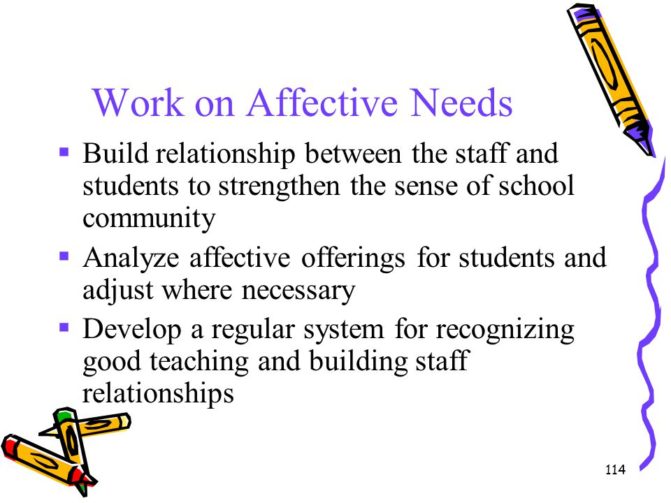 114 Work on Affective Needs  Build relationship between the staff and students to strengthen the sense of school community  Analyze affective offeri