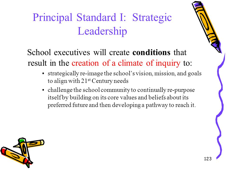 123 Principal Standard I: Strategic Leadership School executives will create conditions that result in the creation of a climate of inquiry to: strate