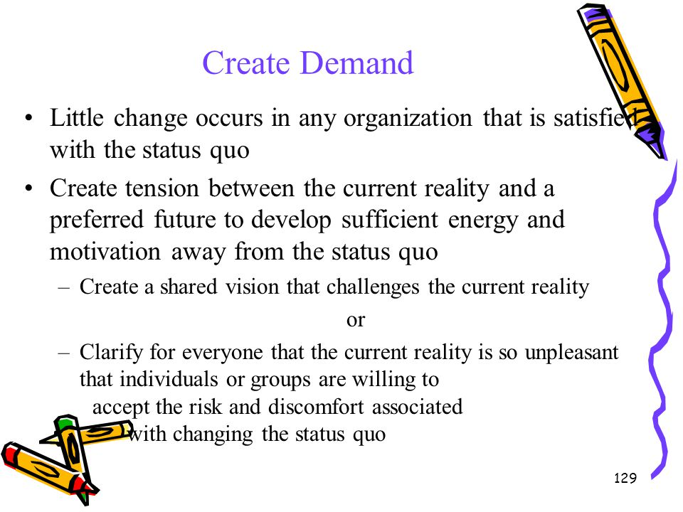 129 Create Demand Little change occurs in any organization that is satisfied with the status quo Create tension between the current reality and a pref