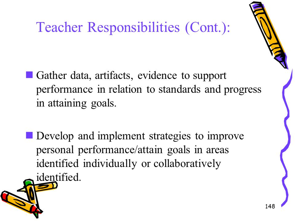 148 Teacher Responsibilities (Cont.): Gather data, artifacts, evidence to support performance in relation to standards and progress in attaining goals