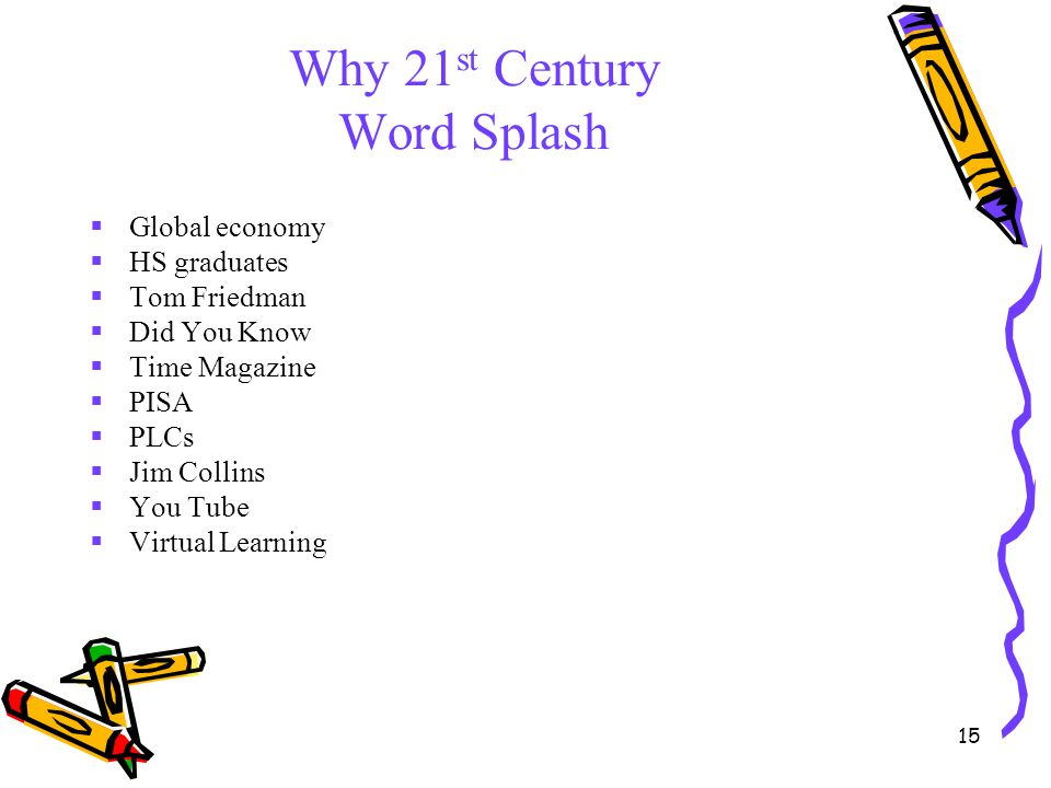15 Why 21 st Century Word Splash  Global economy  HS graduates  Tom Friedman  Did You Know  Time Magazine  PISA  PLCs  Jim Collins  You Tube