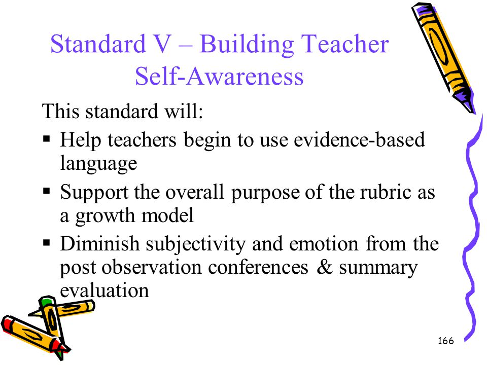 166 Standard V – Building Teacher Self-Awareness This standard will:  Help teachers begin to use evidence-based language  Support the overall purpos