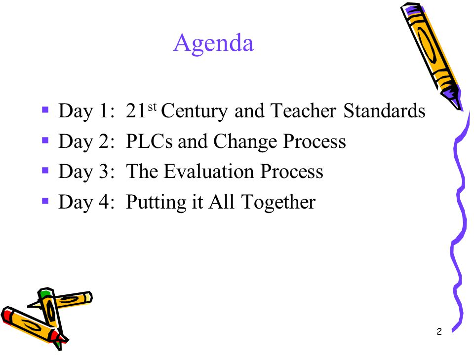 2 Agenda  Day 1: 21 st Century and Teacher Standards  Day 2: PLCs and Change Process  Day 3: The Evaluation Process  Day 4: Putting it All Togethe