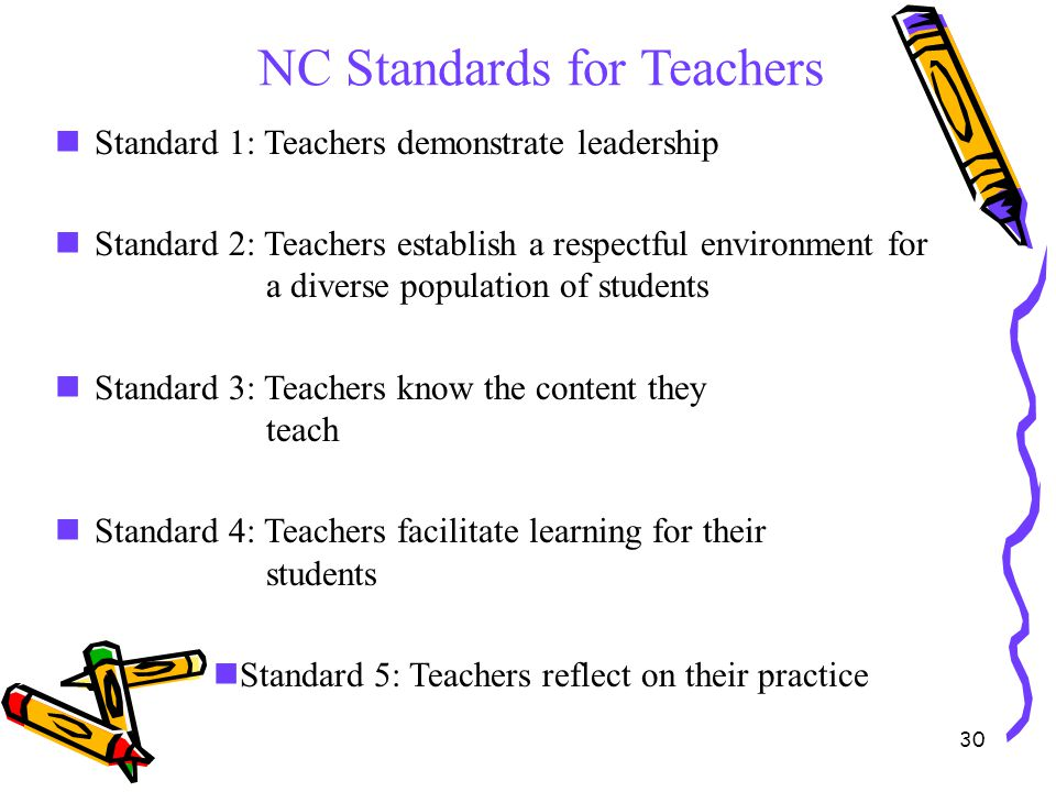30 NC Standards for Teachers Standard 1: Teachers demonstrate leadership Standard 2: Teachers establish a respectful environment for a diverse populat