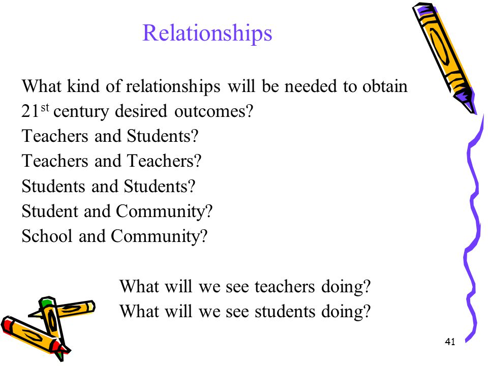 41 Relationships What kind of relationships will be needed to obtain 21 st century desired outcomes? Teachers and Students? Teachers and Teachers? Stu