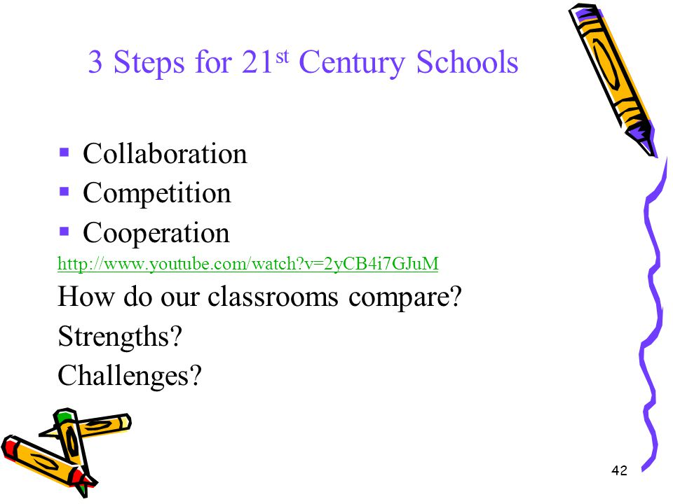 42 3 Steps for 21 st Century Schools  Collaboration  Competition  Cooperation http://www.youtube.com/watch?v=2yCB4i7GJuM How do our classrooms comp