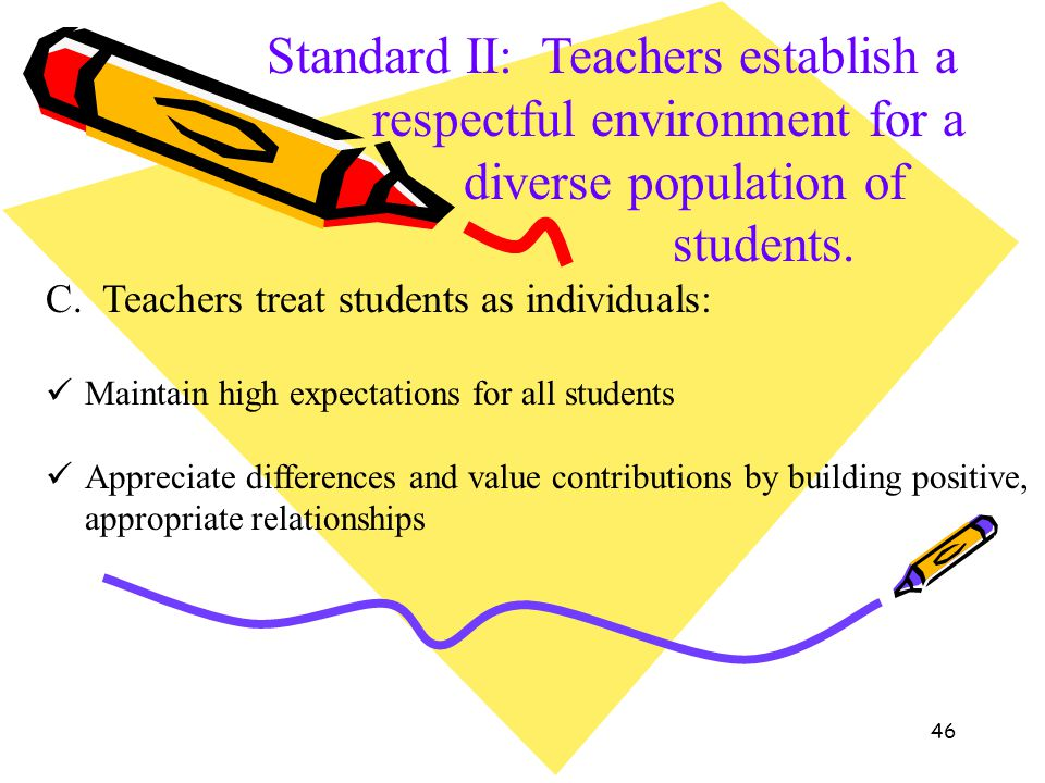 46 Standard II: Teachers establish a respectful environment for a diverse population of students. C. Teachers treat students as individuals: Maintain