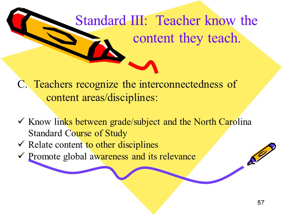 57 Standard III: Teacher know the content they teach. C. Teachers recognize the interconnectedness of content areas/disciplines: Know links between gr