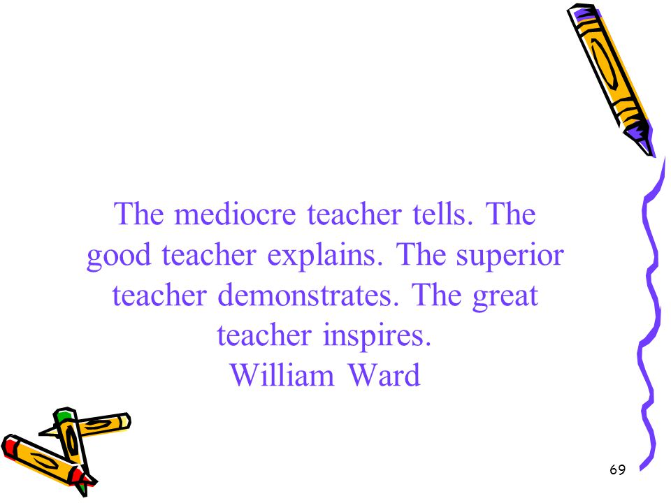 69 The mediocre teacher tells. The good teacher explains. The superior teacher demonstrates. The great teacher inspires. William Ward