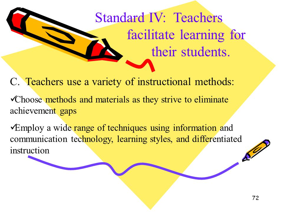 72 Standard IV: Teachers facilitate learning for their students. C. Teachers use a variety of instructional methods: Choose methods and materials as t