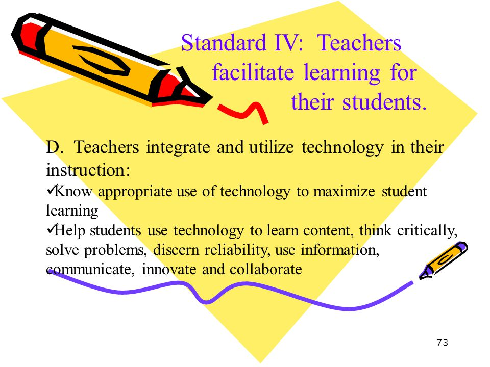 73 Standard IV: Teachers facilitate learning for their students. D. Teachers integrate and utilize technology in their instruction: Know appropriate u