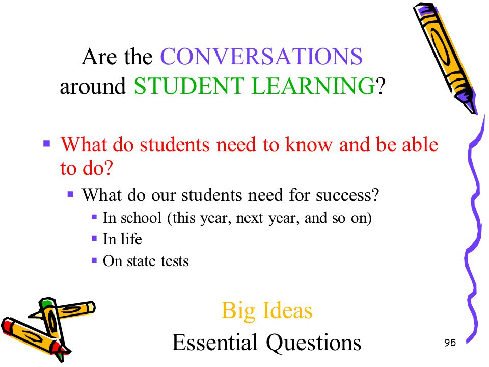 95 Are the CONVERSATIONS around STUDENT LEARNING?  What do students need to know and be able to do?  What do our students need for success?  In sch