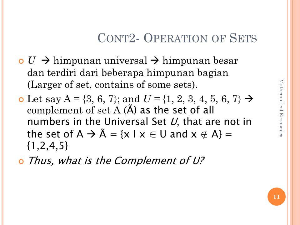 C ONT 2- O PERATION OF S ETS U  himpunan universal  himpunan besar dan terdiri dari beberapa himpunan bagian (Larger of set, contains of some sets).