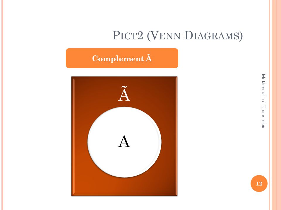 P ICT 2 (V ENN D IAGRAMS ) Complement à à A 12 Mathematical Economics