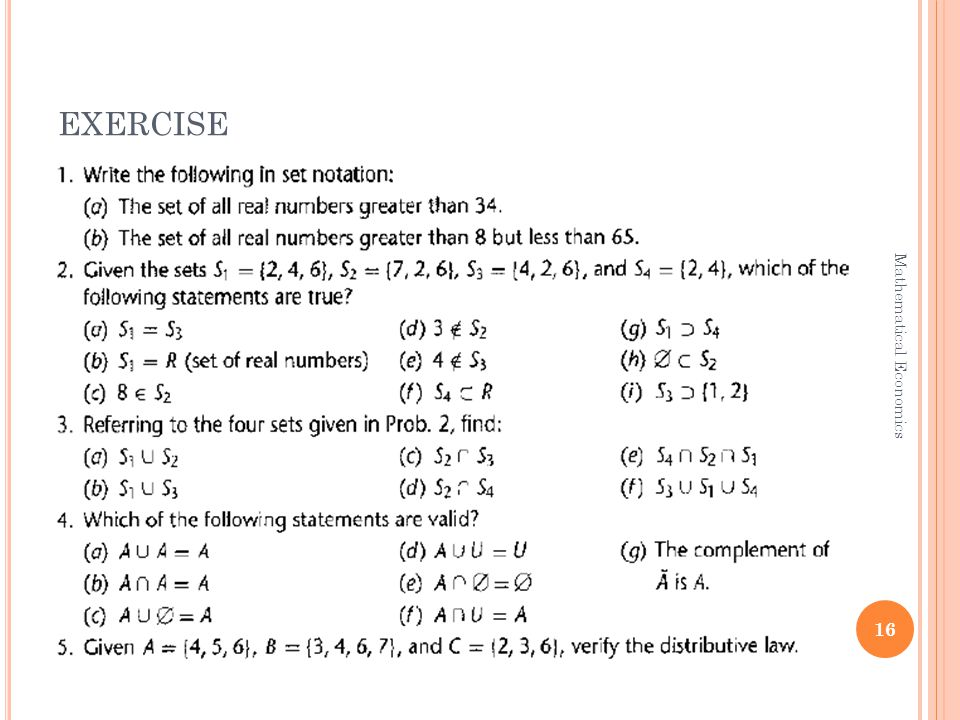 EXERCISE 16 Mathematical Economics
