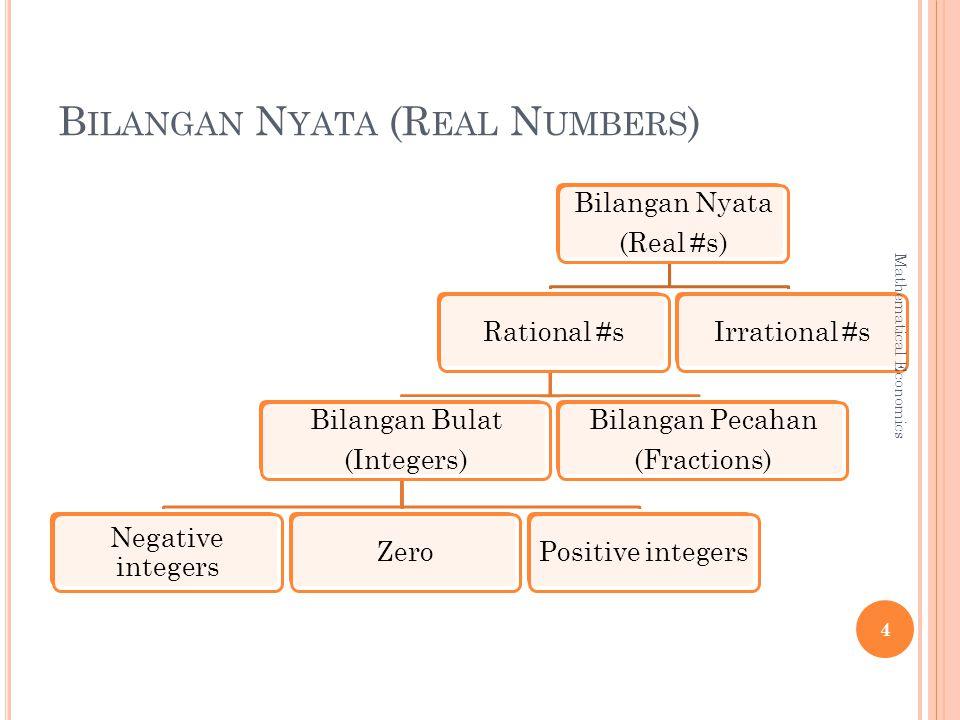 B ILANGAN N YATA (R EAL N UMBERS ) Bilangan Nyata (Real #s) Rational #s Bilangan Bulat (Integers) Negative integers ZeroPositive integers Bilangan Pecahan (Fractions) Irrational #s 4 Mathematical Economics