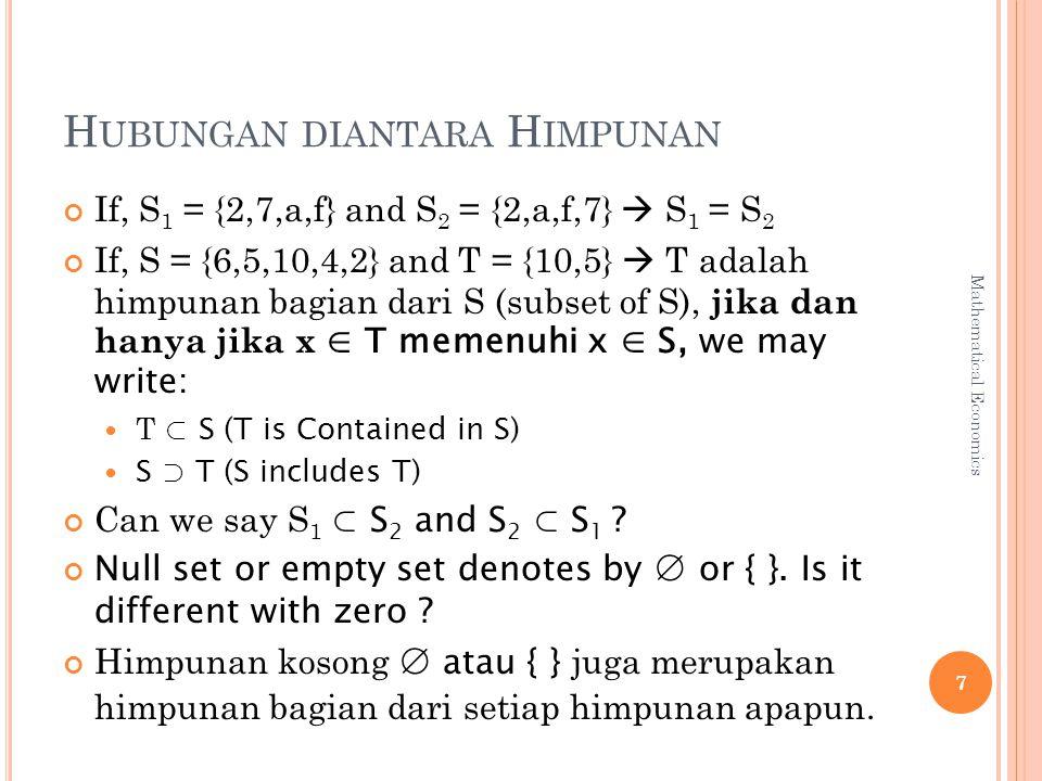 H UBUNGAN DIANTARA H IMPUNAN If, S 1 = {2,7,a,f} and S 2 = {2,a,f,7}  S 1 = S 2 If, S = {6,5,10,4,2} and T = {10,5}  T adalah himpunan bagian dari S (subset of S), jika dan hanya jika x ∈ T memenuhi x ∈ S, we may write: T ⊂ S (T is Contained in S) S ⊃ T (S includes T) Can we say S 1 ⊂ S 2 and S 2 ⊂ S 1 .