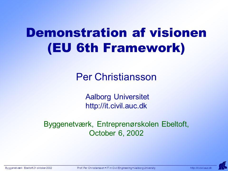 Byggenetværk Ebeltoft 21 oktober 2002 Prof. Per Christiansson  IT in Civil Engineering  Aalborg University http://it.civil.auc.dk Demonstration af v