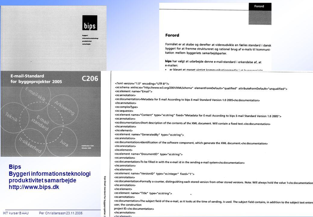 IKT kurser B AAU Per Christiansson 23.11.2005 IT in Civil Engineering  Aalborg University http:://it.bt.aau.dk [11/24] Bips Byggeri informationsteknologi produktivitet samarbejde http://www.bips.dk