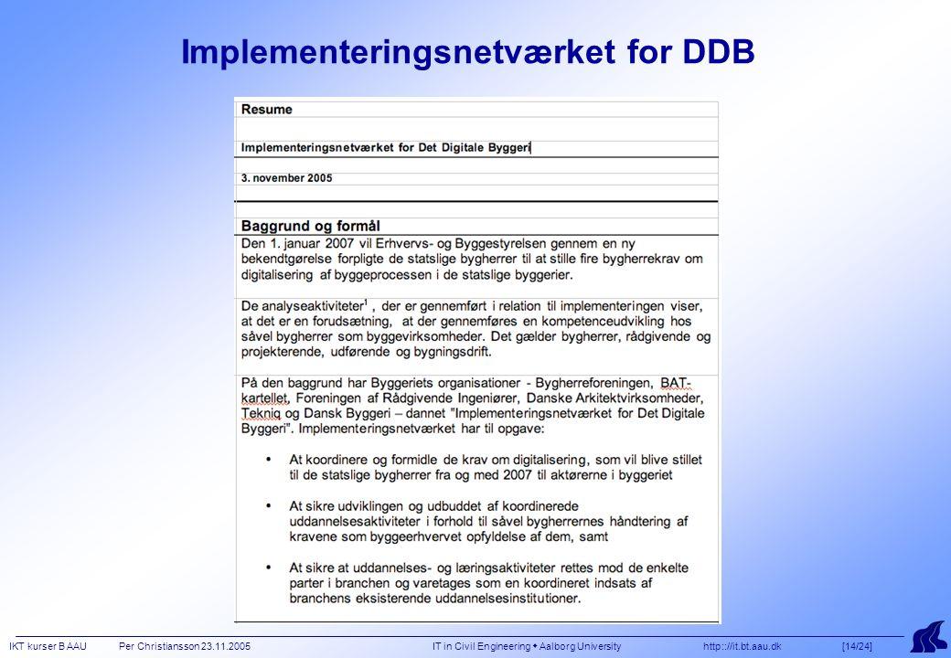 IKT kurser B AAU Per Christiansson 23.11.2005 IT in Civil Engineering  Aalborg University http:://it.bt.aau.dk [14/24] Implementeringsnetværket for DDB