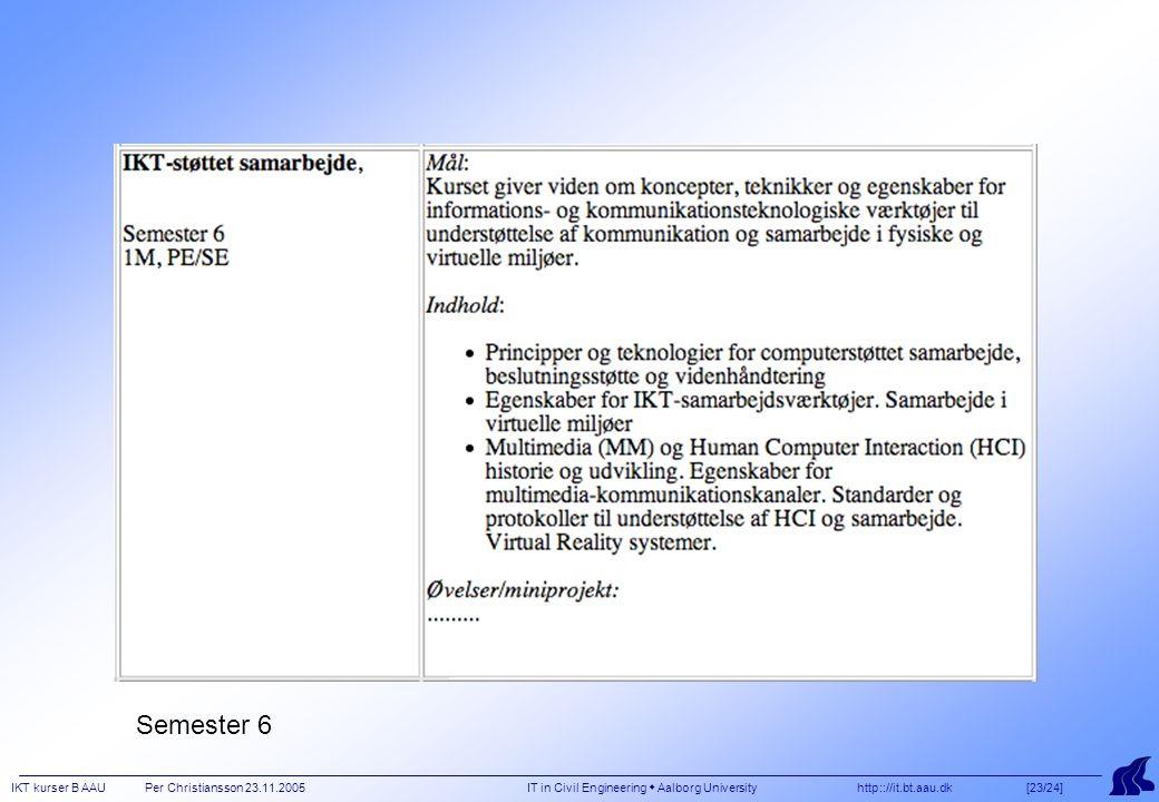 IKT kurser B AAU Per Christiansson 23.11.2005 IT in Civil Engineering  Aalborg University http:://it.bt.aau.dk [23/24] Semester 6