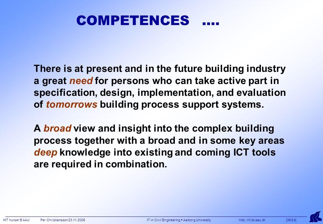 IKT kurser B AAU Per Christiansson 23.11.2005 IT in Civil Engineering  Aalborg University http:://it.bt.aau.dk [36/24] COMPETENCES ….