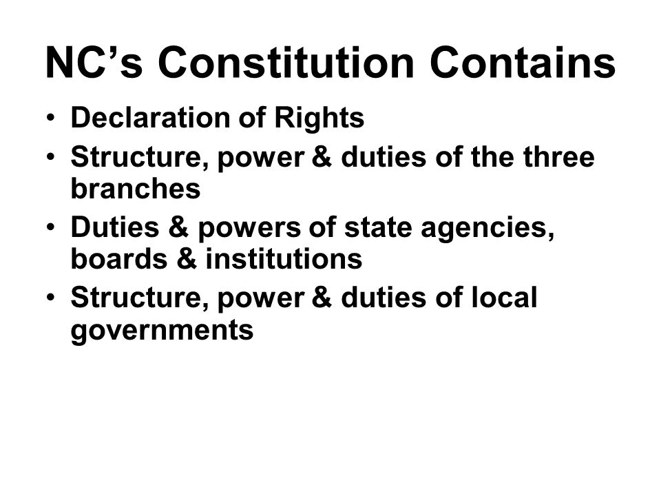 Principles of NC's Constitution Popular Sovereignty –Define –Proof in Our Constitution.