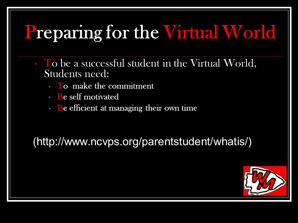 Preparing for the Virtual World To be a successful student in the Virtual World, Students need: To make the commitment Be self motivated Be efficient